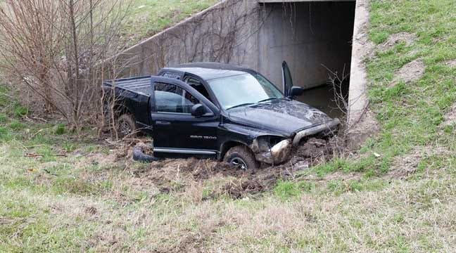 Highway 169 Crash Lodges Pickup In Tulsa Drainage Culvert
