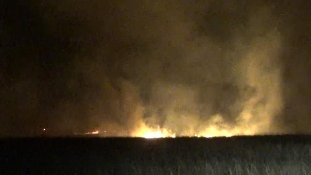 Lightning Sparks Large Grass Fire West Of Henryetta