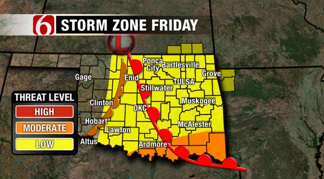 Thunderstorms, Hail, Strong Winds Possible South Of Tulsa