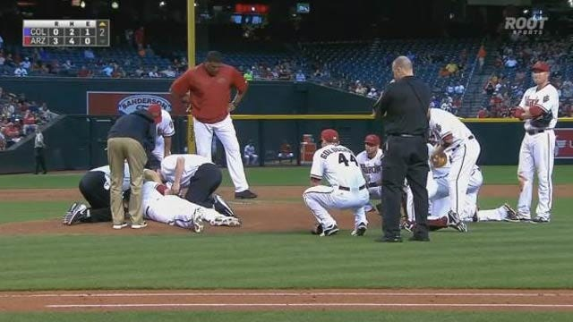 Bradley Escapes Major Injury After Line Drive To Face