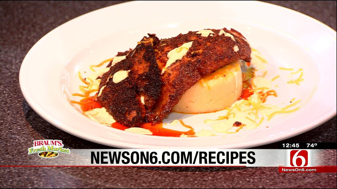 Blackened Catfish With Creole Mustard Sauce & Spicy Ham With Cheese Grits