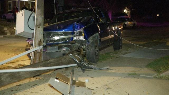 Tulsa Homes Lose Power After Truck Hits Pole