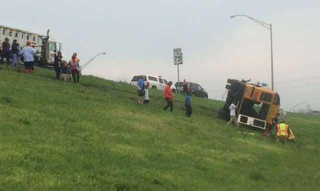 Five Hurt When Tulsa School Bus Rolls Over On Highway 75