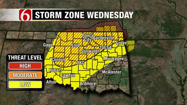 Severe Thunderstorms, Tornadoes Possible Across Oklahoma