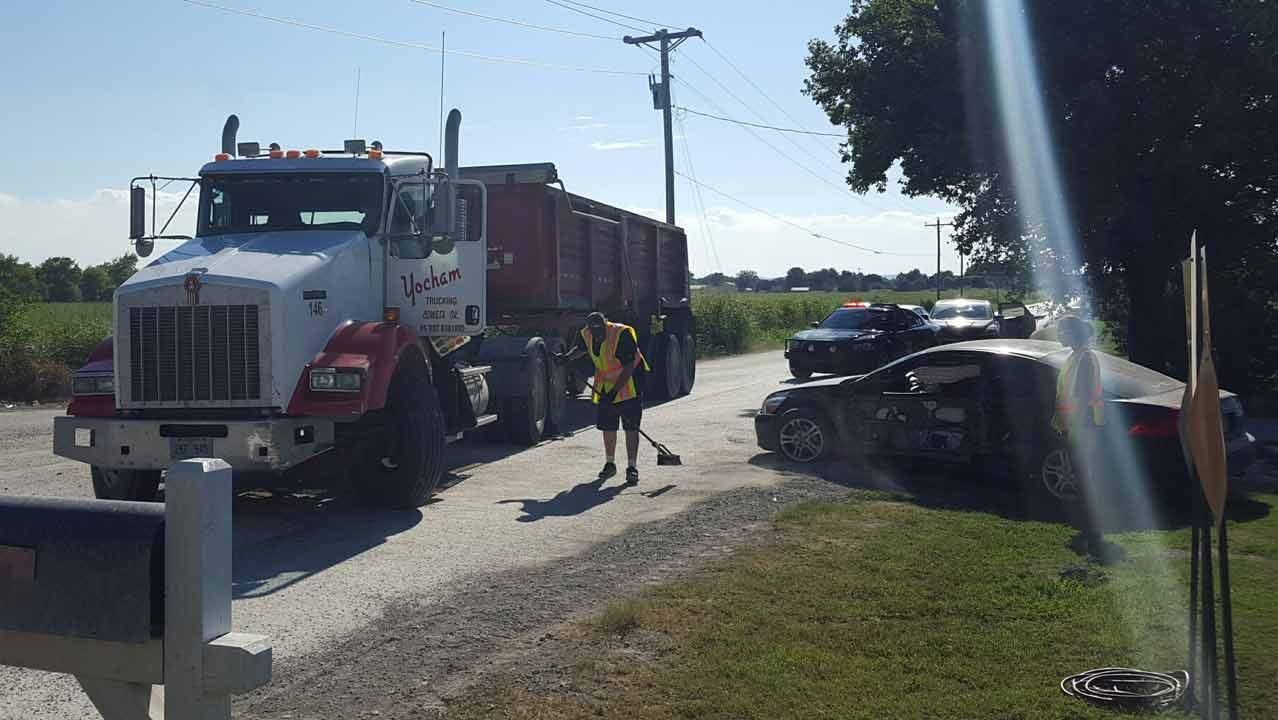 Dump Truck, Car Collide Near Owasso