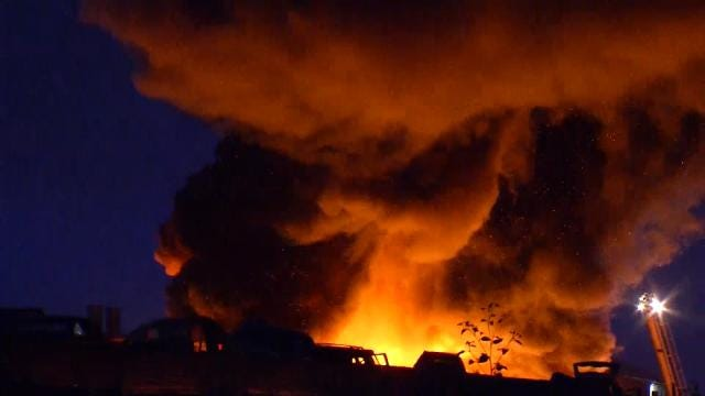 Lightning May Have Started Large Fire At Tulsa Auto Salvage Yard