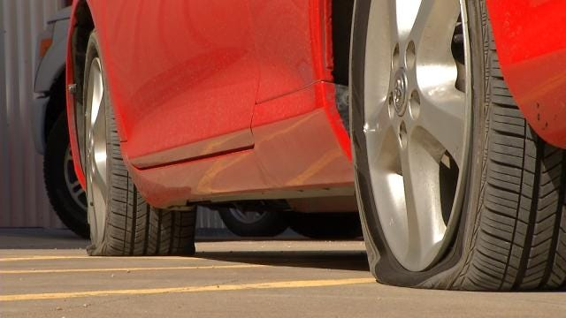 Exposed Expansion Joint Damages Several Cars On U.S. 169