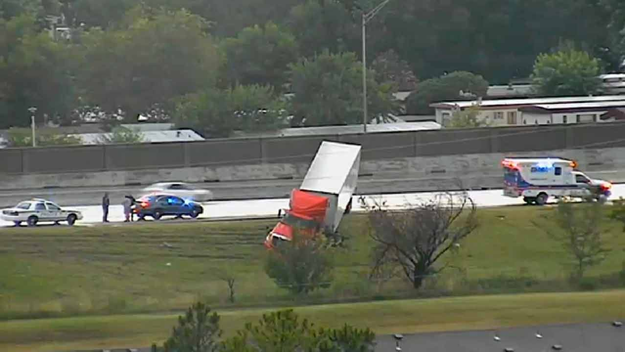 Semi Runs Off Highway 169 Near 41st Street In Tulsa