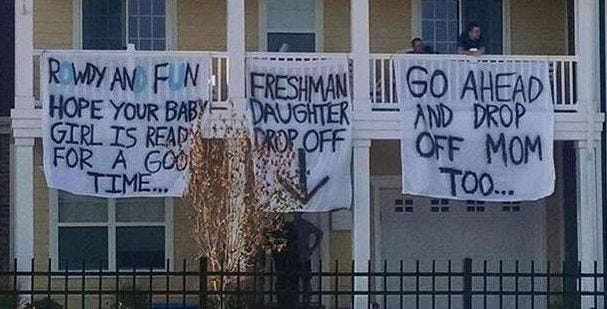 Fraternity Suspended Over Suggestive Banners