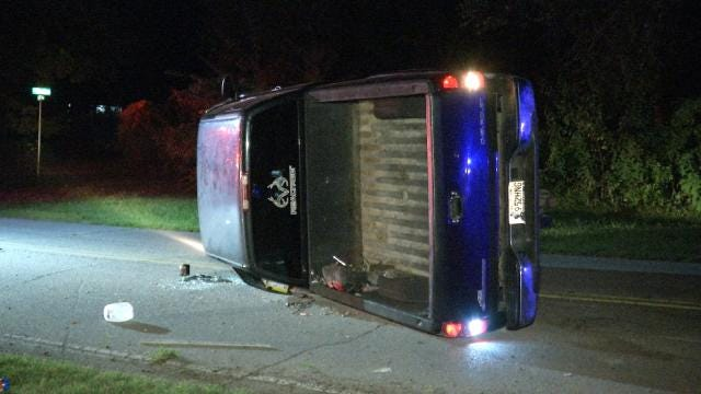 Driver Abandons Truck After Sand Springs Rollover Crash, OHP Says