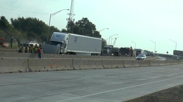 Two Semis Collide During Rush Hour On Tulsa Highway