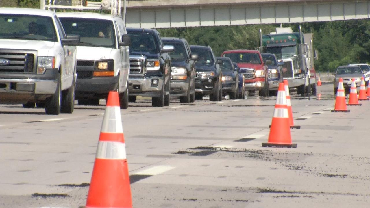 Damaged Pavement On Highway West Of Downtown Tulsa Repaired
