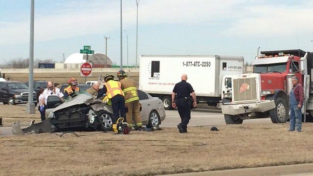 Car, Dump Truck Collide In East Tulsa