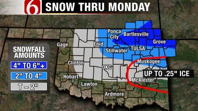 Sleet, Freezing Rain Falls In Northeastern Oklahoma As Winter Storm Moves In