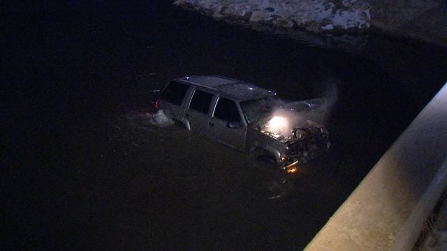 Tulsa Police: SUV Slides On Ice, Ends Up In Pond