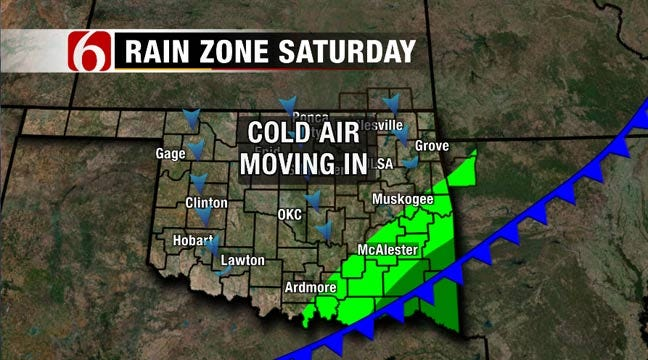 Cold Front Moving Into Green Country Saturday