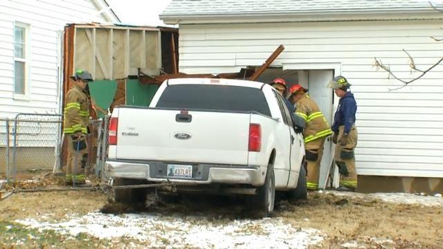 Police: Pickup Crashes Into Tulsa House, Driver Runs Away