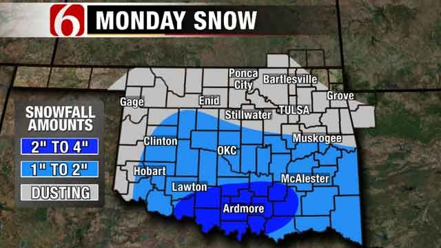 After Cold, Wet Sunday, Light Snow Possible Monday