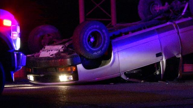 Truck Abandoned In Rollover Tulsa Wreck