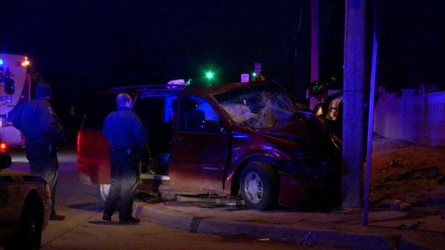 Tulsa Firefighters Rescue Driver After Van Hits Utility Pole
