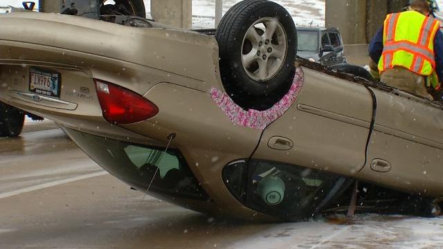 Police Work Multiple Crashes On Snowy Tulsa Highways