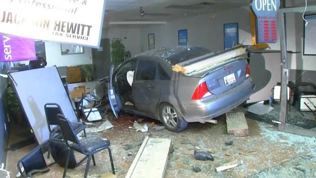 Car Smashes Into Two Tulsa Businesses