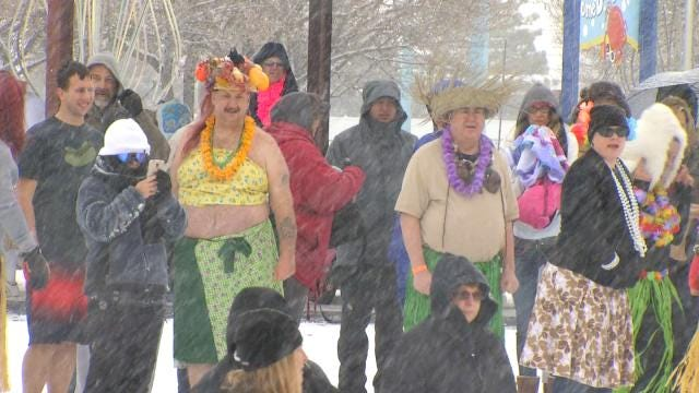 Law Enforcement Plunges For Special Olympics During Tulsa Snow Storm