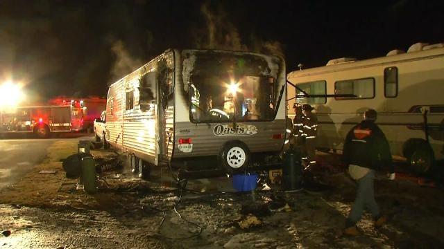 Couple Escapes Burning RV Trailer In Sapulpa