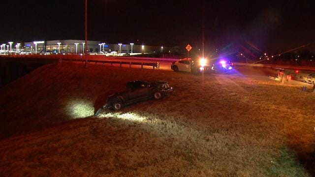 Pickup Truck Crashes Off I-44 In West Tulsa