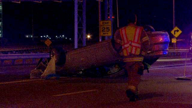 Car Rolls After Hitting Center Barrier In Downtown Tulsa