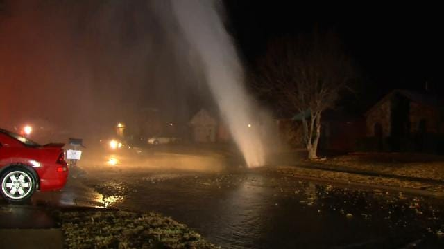 Geyser Caused By Broken Water Line Damages Tulsa Home