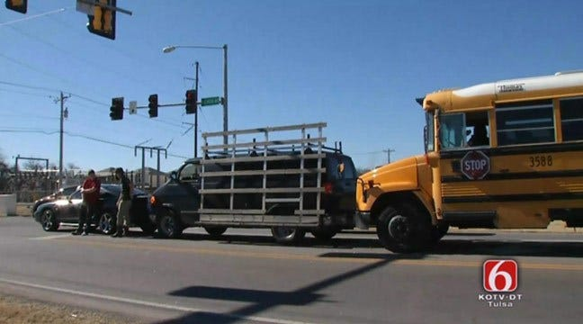 Tulsa School Bus Involved In Minor Three-Car Collision