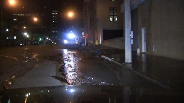 Tulsa Water Department Repairing Pair Of Water Line Breaks On 2nd Street