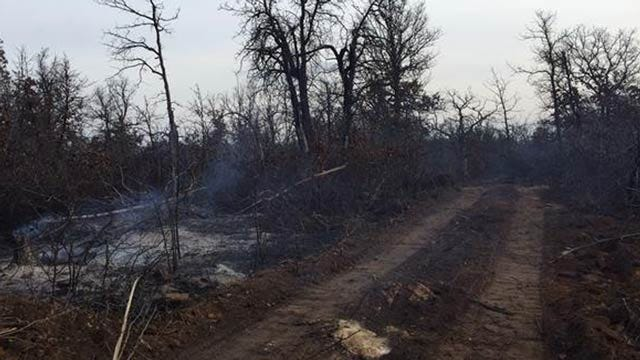 Firefighters Monitor Large Fire Southeast Of Mannford