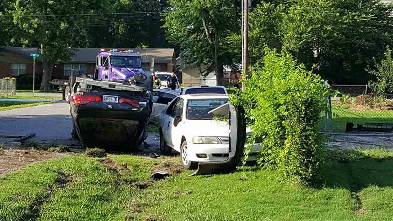 Tulsa Police Say 'Rolling Domestic' Ends In Crash, Property Damage
