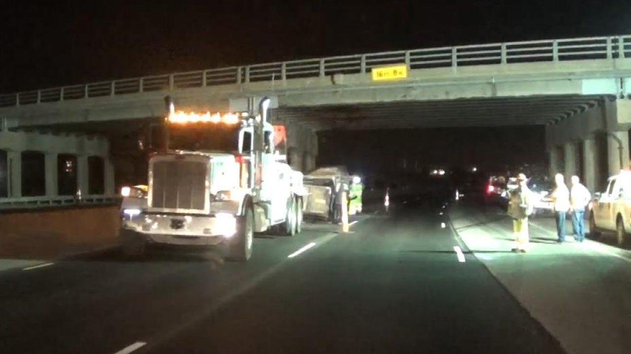 Dump Truck With Raised Bed Hits Tulsa Highway Bridge