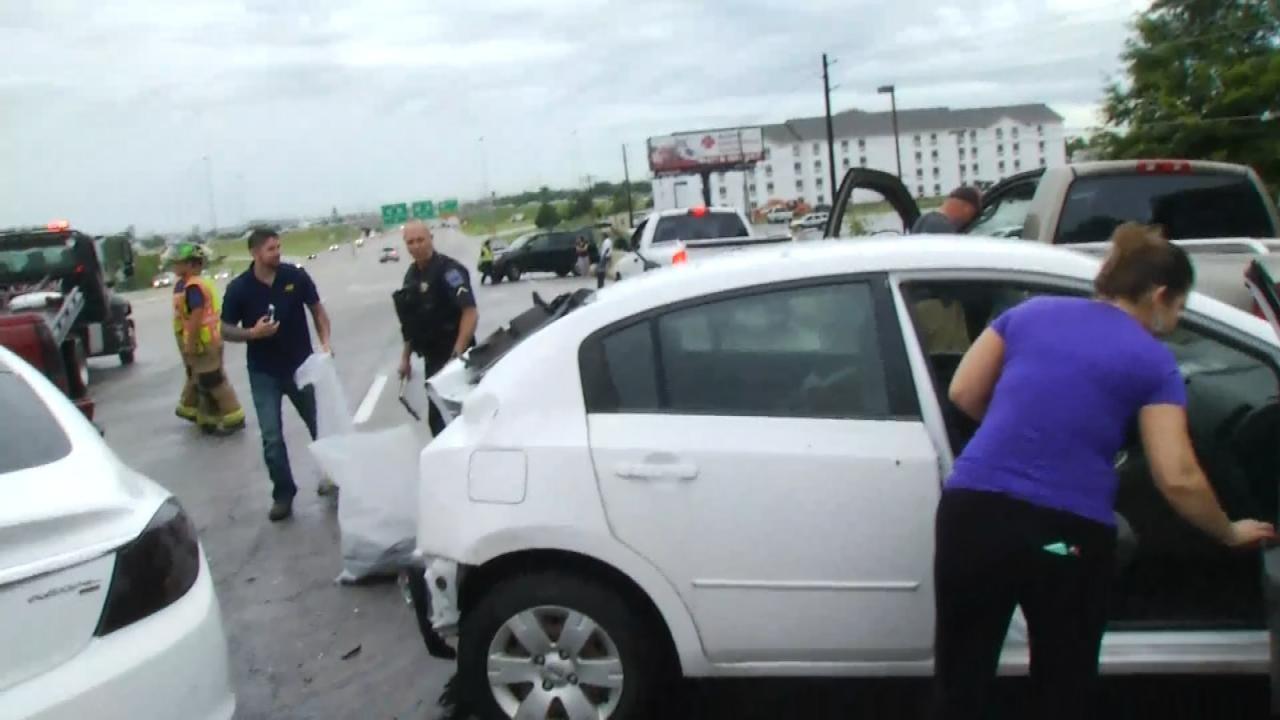 Wet Road Leads To Multi-Vehicle Crash On Tulsa Highway