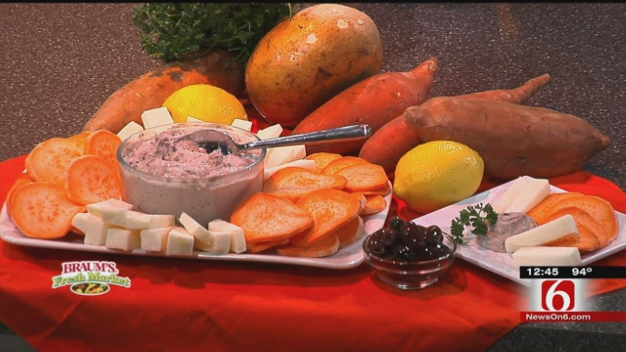 Creamy Olive Dip With Sweet Potato Chips