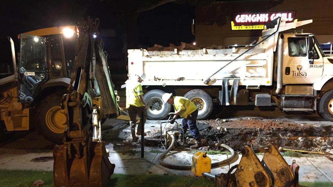 Service Restored After Midtown Tulsa Water Main Break