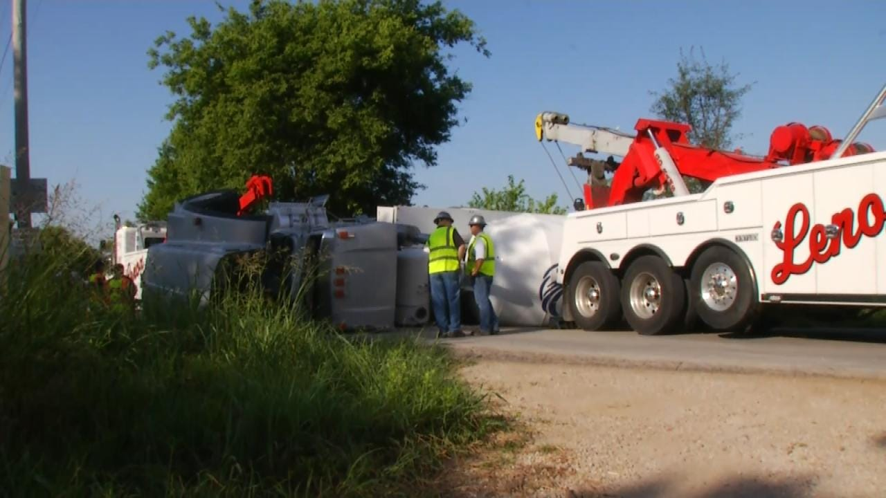 Concrete Truck Wreck Closes Rogers County Road