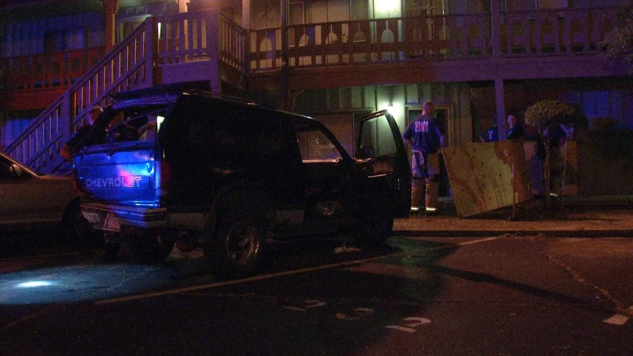 Pickup Crashes Into Tulsa Apartment