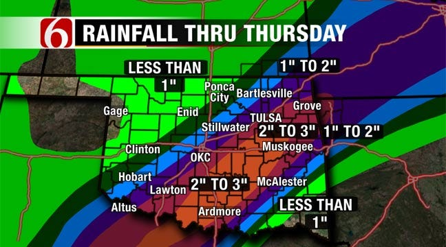 Cooler Temps, More Rain Expected In Eastern Oklahoma