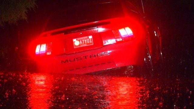 Car Stranded In High Water at Tulsa Frequent Flooding Spot
