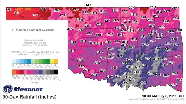 Four Feet Of Rain Falls In 90 Days In SE Oklahoma