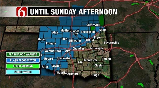 Forecasted Rain Prompts Flood Warnings, Watches Across Oklahoma