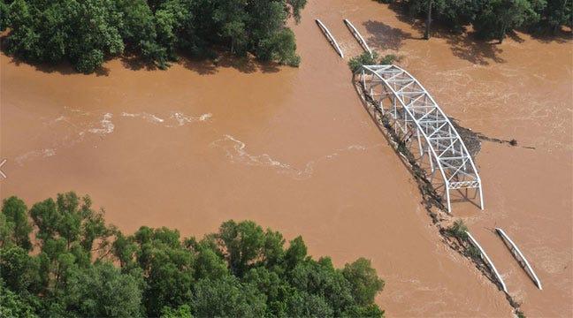 Corps Of Engineers Photos Show Flooded Bridge On Washita River
