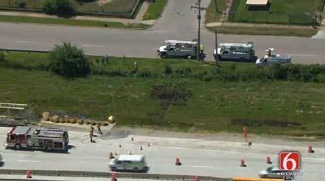 Downed Power Line Backs Up Traffic On I-244 Near Utica