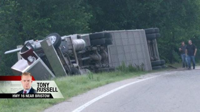 Cattle Truck Overturns On Creek County Highway