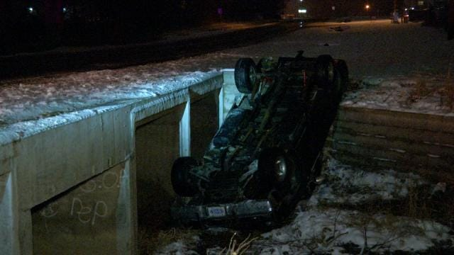Catoosa Police Find Truck Upside Down In Creek Bed