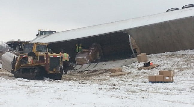 Crews Clean Up After Semi Crashes On Snowy Catoosa Highway